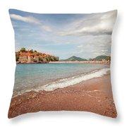 Sveti Stefan Island Iconic Landmark Throw Pillow