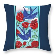 Swallows And Roses Throw Pillow