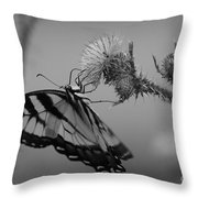 Swallowtail Black And White Throw Pillow