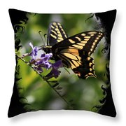 Swallowtail Butterfly 1 With Swirly Frame Throw Pillow