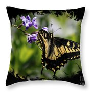 Swallowtail Butterfly 2 With Swirly Framing Throw Pillow