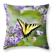Swallowtail Butterfly On Lilacs Throw Pillow