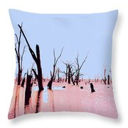 Swamp And Dead Trees Throw Pillow