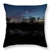 Swamp At Dusk With Moon Throw Pillow