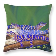 Swamp Babies Throw Pillow by Tracy L Teeter