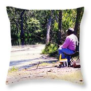 Swamp Fishing Throw Pillow