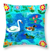 Swan And Two Ducks Throw Pillow by Sushila Burgess