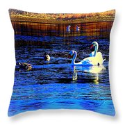 When It Seems Like The Swans Are Ruling The Sea  Throw Pillow