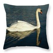 Swan Blasting Away Throw Pillow