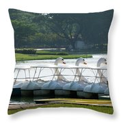 Swan Boat In A Lake Throw Pillow