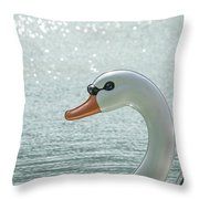 Swan Boat In The Lake Throw Pillow