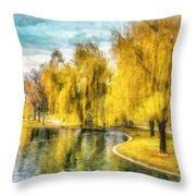 Swan Boats Boston Public Garden Throw Pillow