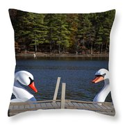 Swan Boats Throw Pillow by Joanna Madloch