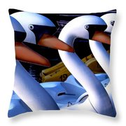 Swan Boats Throw Pillow