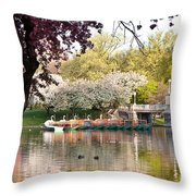 Swan Boats With Apple Blossoms Throw Pillow by Susan Cole Kelly