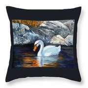 Swan By Rocks Throw Pillow