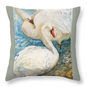 Swan Couple Throw Pillow
