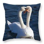 Swan Courtship  Throw Pillow