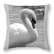 Swan Elegance Black And White Throw Pillow