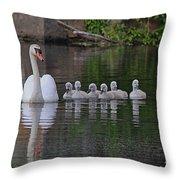 Swan Family Portrait Throw Pillow