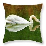 Swan Heart Throw Pillow