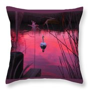 Swan In A Sunset Throw Pillow
