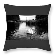 Swan In Black And White Throw Pillow