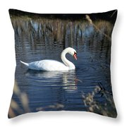 Swan In Blue Pond Throw Pillow