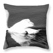 Swan In Motion On A Pond Throw Pillow
