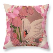 Swan In Pink Card Throw Pillow