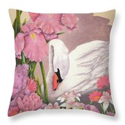 Swan In Pink Throw Pillow