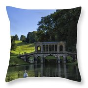 Swan In Prior Park Throw Pillow