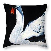 Swan In Shadows Throw Pillow