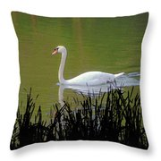 Swan In The Pond Throw Pillow