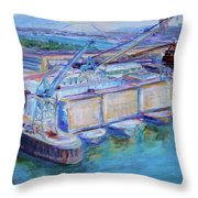 Swan Island Poetry - Large Original Contempory Impressionist Painting Throw Pillow