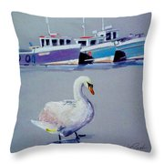 Swan Lake With Pleasure Boats Throw Pillow