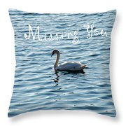 Swan Miss You Throw Pillow