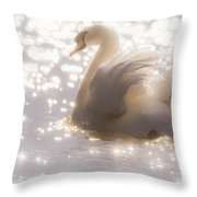 Swan Of The Glittery Early Evening Throw Pillow