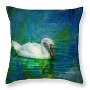 Swan On A Blue And Green Lake Throw Pillow