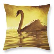 Swan On Gold Throw Pillow
