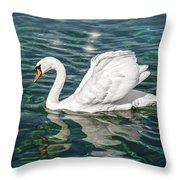 Swan On Lake Geneva Switzerland  Throw Pillow