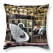 Swan Seat At The Carousel  Throw Pillow
