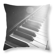 Swan Song Music Piano Keys Black And White Throw Pillow