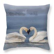Swan Valentine - Blue Throw Pillow