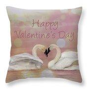 Swan Valentine Throw Pillow