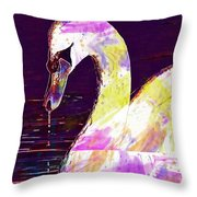 Swan White Water Bird White Swan  Throw Pillow
