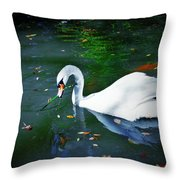 Swan With Twig Throw Pillow