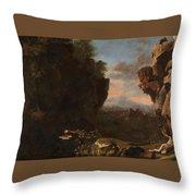 Swanevelt, Herman Van Woerden, 1603 - Paris, 1655 Landscape With Saint Benedict Of Nursia 1634 - 163 Throw Pillow