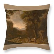 Swanevelt, Herman Van Woerden, 1603 - Paris, 1655 Landscape With Travellers And A Shepherd 1635 - 16 Throw Pillow