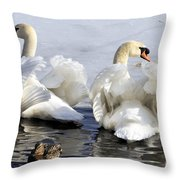 Swans And Duck Throw Pillow